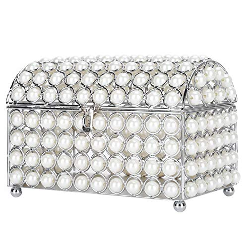 Sutinna Faux Pearl Trinket Jewelry Boxes, Wrought Iron Electroplate Jewelry Box Earrings Necklace Bracelet Makeup Storage Case Organizer