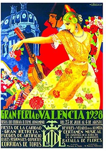 Cartel de viaje vintage de Gran Feria de Valencia España, cartel de metal, 20 x 30 cm, retro, para casa, cafetería, oficina, bar, bar, decoración de pared