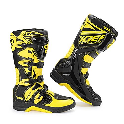 Botas de Motocicleta Todoterreno Profesionales Amarillas,Zapatos de Motocicleta Antidesgaste Resistentes al Desgaste de Motocross,Botas de Conducción de Motocicleta,41