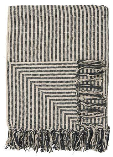 IB Laursen - Plaid - Decke - Tagesdecke - Creme - gestreift - Baumwolle - 160 x 130 cm