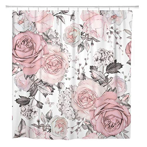 ArtSocket Shower Curtain Pink Flowers and Leaves on Watercolor Floral Pattern Rose Home Bathroom Decor Polyester Fabric Waterproof 72 x 72 Inches Set with Hooks