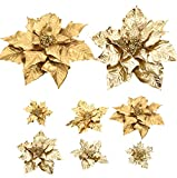 Cloris Art Christmas Flowers Gold Poinsettia for Xmas Holiday Decoration, 17 + 14 +10 Inch Artificial Poinsettia Flower Home Indoor Tabletop Vase Decor, Set of 6(Gold)