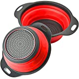 Rikivt Collapsible Colander Set, Dishwasher-Safe & Space-Saving Kitchen Strainers for Pasta, Vegetables, Fruits, 1 PC 4 Quart and 1 PC 2 Quart Folding Round Silicone Colander (Red)