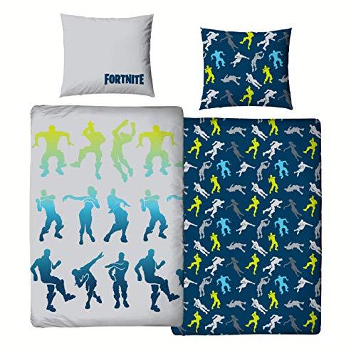 Character World Ropa de cama Fortnite 135 x 200 + 80 x 80 · 2 piezas para adolescentes y jóvenes · ForTNITE Dance Figuras Battle Royale · 100% algodón · Tamaño alemán