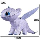 GUIZMAX Geante !!! Peluche Furie Nocturne 70/100 cm Dragon 3 Blanc Krokmou