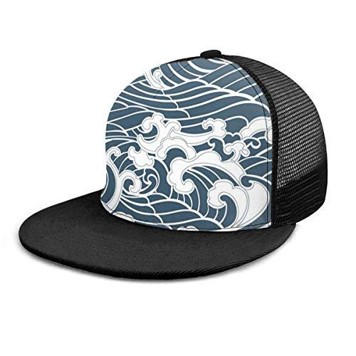 Gorra de béisbol Estilo Tradicional de Onda Japonesa Retro Impreso en 3D Ajustable Hip Hop Snapback Sombrero de ala Plana Gorras de béisbol