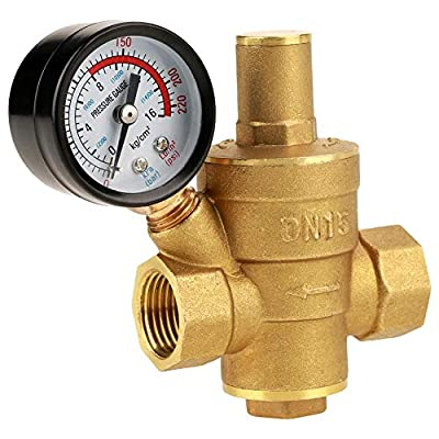Water Pressure Valve, Brass DN15 Adjustable Water Pressure Regulator Pressure Reducing Valve with Gauge Meter for Tap Water Equipment from AYNEFY