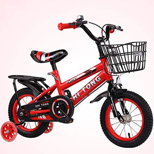 WANG-L Ruedas De 12'/ 14' / 16'18' Bicicletas para Niños para Niñas Niños con Ruedas De Entrenamiento Canastas De Llantas Flotantes Ruedas De Entrenamiento Extraíbles,Red-18inch
