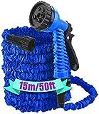 DU Sales 15m/50ft Expandable Garden Hose, with Detachable Quick Connector Flexible Water Hose Pipe 7...