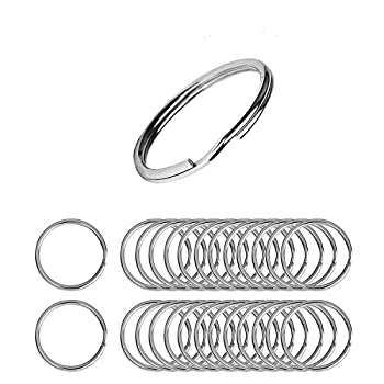 Flat Key Rings 50 Pieces 1 inches Flat Key Rings Metal Keychain Rings Split Keyrings Flat O Ring for Home Car Office Keys Attachment Silver