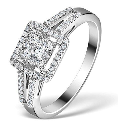 TheDiamondStore - Halo-Verlobungsring - echter rund geschliffener Diamant - 0,50 ct. Gesamtgewicht - Weißgold 18 Karat - Ringgröße 51
