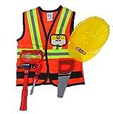 Creative Education 81505 - Set di accessori per lavori edili, con gilet da lavoro, cappello duro, maschera, martello, sega e cacciavite, taglia 5-6