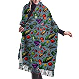 ZharkLI Bufanda de cachemira para mujer, de invierno, con borla, maíz, nabo, verduras, frutas