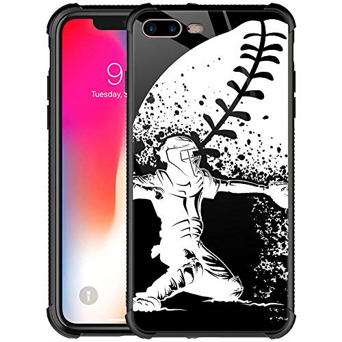 iPhone 8 Case iPhone SE 2020 Case,9H Tempered Glass iPhone 7 Cases for Boys Girls,Baseball Catcher at Home Pattern Design Shockproof Anti-Scratch Glass Case for Apple iPhone 7/8/SE2 Baseball Catcher