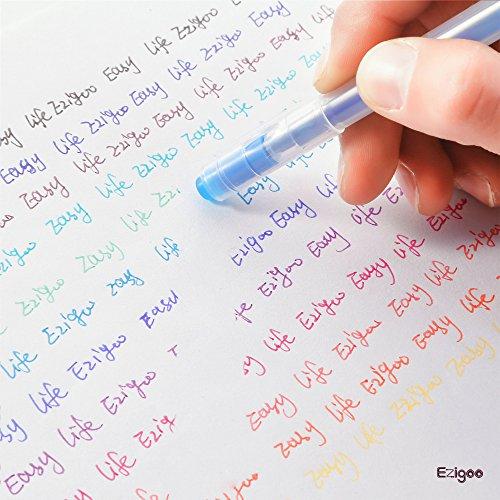 Bolígrafo Borrable Punta 0.7 mm –Bolígrafo de Tinta Borrable Recargable Colores Variados Paquete de 12 - Ezigoo - 9BL000