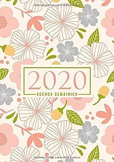 Agenda semainier 2020: Du 1er janvier 2020 au 31 décembre 2020 : aperçu hebdomadaire et mensuel, journal, planificateur & organiseur : Fleurs roses et bleues sur ivoire 050-3 (French Edition)