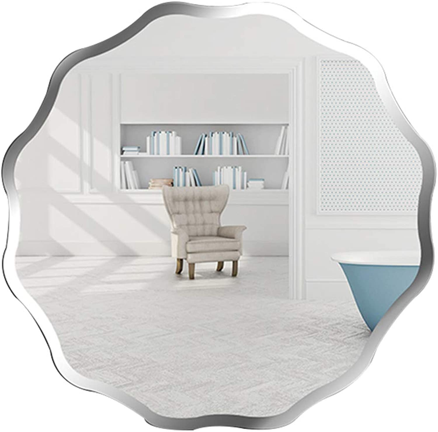 GUOWEI Mirror Wall-Mounted Bathroom Parlor Makeup High-Definition Round Frameless Simple (color   Silver, Size   Diameter -50CM)
