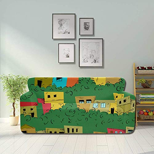 AQQA Colorful Brazilian Art House Graffiti Couch Non Slip Cover Foldable Sofa Cover Fitted Furniture Protector 2&3 Seat Sofas