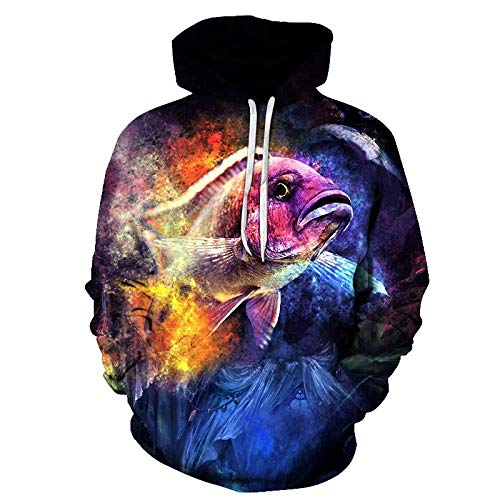 yyqx container Pulls Hoodies d'impression 3D Romantique Rainbow Fish Outdoor Couples Sweatshirts avec Kangaroo Pocket-Color_5XL