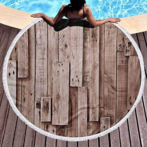 BOBO-Shop Round Beach Towel bath towelWooden Tropical Barn Shed Floor Wall Planks Sepia Art Old Natural Plywood Lodge Image