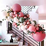 Rose Red Balloon Garland Arch Kit – 102 Pack Olive Green Rose Red Blush Balloons ,Metallic Rose Gold Balloon for Wedding Baby Shower Birthday Evening Dinner Tea Party Decorations