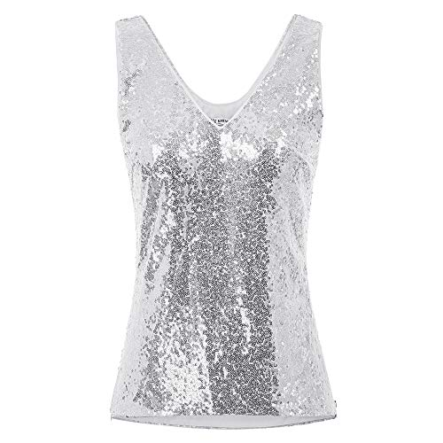 GRACE KARIN dames pailletten tops Sparkle Shimmer vest zonder mouwen V-hals U-back side split blouse tuniek
