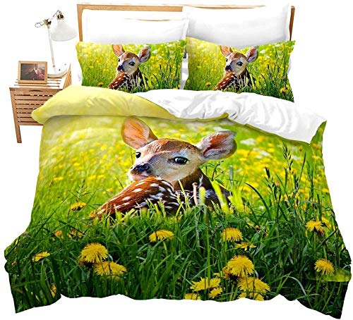 QFAZO Bedding Tagesdecke 3D Grüne Graspflanze Blüht Tierhirschlandschaft 200X200Cm Bettbezug Set Bettwäsche Set 1Teilig Bettbezüge Mikrofaser Bettbezug Mit Reißverschluss Und 2 Kissenbezug