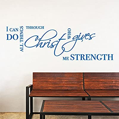 All Things through Christ Strength Wall Sticker Bible Quote Popular Removable Vinyl Religious Jesus Words Decal