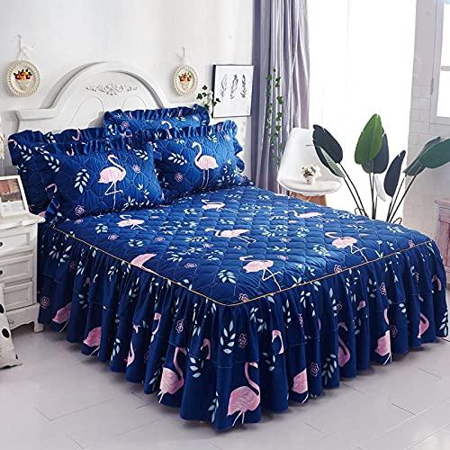CYYyang Protector de colchón, algodón, poliéster, Hoja de Cama de Encaje de Falda de Cama Engrosada-9_200 * 220cm
