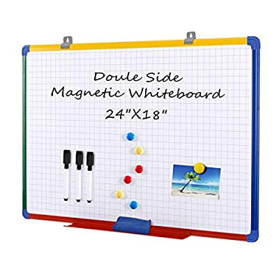 Swansea Magnetic Whiteboard Wall Dry Wipe Erase Boards Double Side Planning Grid Board with 3 Maker+ 6 Magnets,24x18inch