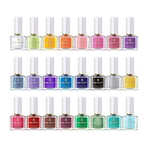 BORN PRETTY 6ml Nail Art Stamping Polish Colourful manicuring Plate Printing Polish Varnish 24 Colors Set