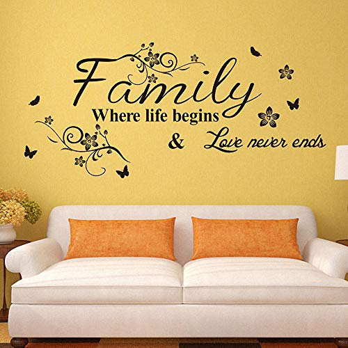 Creative Family Love Never End Wall Stickers Quote Art Decal Beautiful Flowers Butterfly Wall Mural DIY Living Room Home Decor