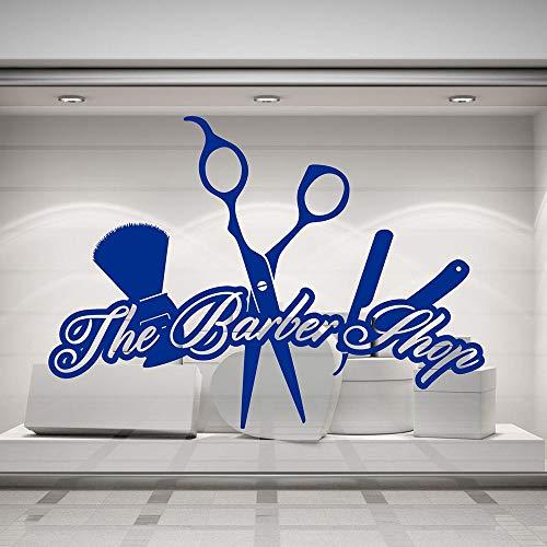 HGFDHG Barbería Vinilo Pared calcomanía Letras Herramientas de Corte de Pelo Arte Pegatinas para Puertas y Ventanas peluquería decoración de Interiores
