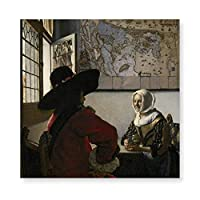 INOV ヨハネス フェルメール著役人そして笑う女 子 アートパネル アートフレーム ポスター インテリアアート 額縁なし 壁飾り 40x40cm