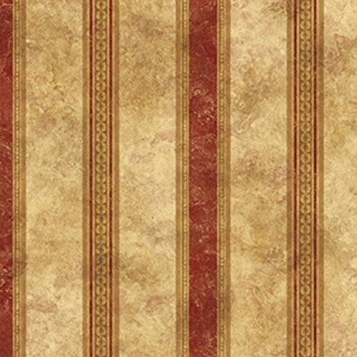 Dollhouse Wallpaper Medallion Burgundy Stripe NO BORDER