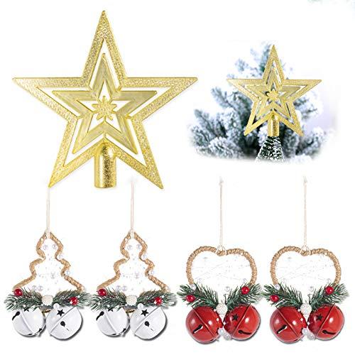 Dioxide Set di 4 Campanellini Natalizi Decorativi Campanellini Sonagli Grandi Decorazione di Natale, Matrimonio, Compleanno, 2 Rosso + 2 Bianco 5CM, 1 Stella a Cinque Punte
