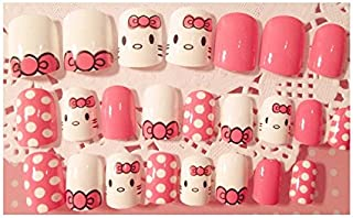 TBOP FAKE NAIL art reusable French long Artifical False nails 24 pcs cute cartoon cat set in Pink and White color
