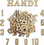 Letras de Madera y Números de Madera (124 piezas) - Juego de Letras Mayúsculas (A-Z) y Letras...