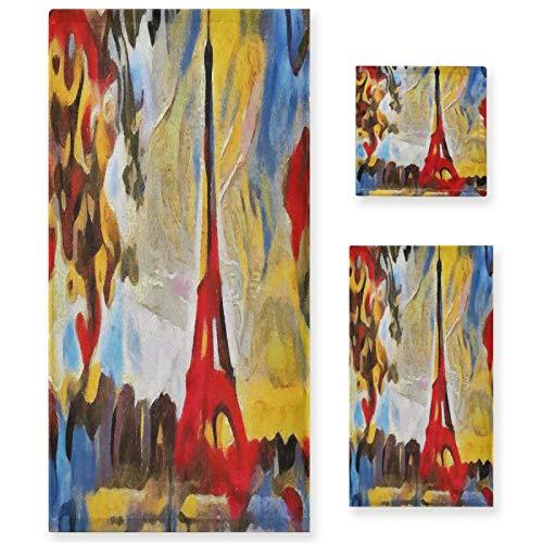 Naanle Juego de 3 toallas de baño abstractas Torre Eiffel para baño de algodón altamente absorbente, toalla de baño grande+toalla de mano+toalla, paquete de 3 toallas de suavidad para decoración