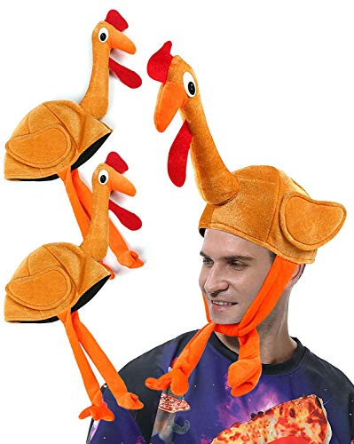 2 Pack Thanksgiving Turkey Hats with Head Funny Novelty Plush for Festival Accessories Thanksgiving Party Favors Supplies Fun Plump Halloween Costume Accessory