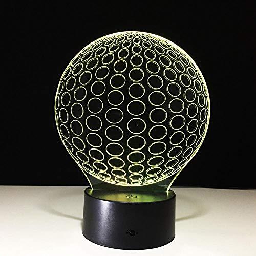 QHZSFF Luz de noche 3D,con ABS Base & Cargador usb,16 colores Lámpara de decoración Cambio - Regalo perfectos para niños(golf)