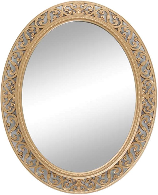 Sunhai Bathroom Vanity Mirror, European Modern Hollow Craft Mirror - Oval Glass Decorative Mirror -55  66cm (color   gold)