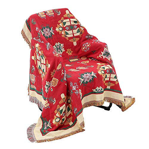 ATopoler Sofa Throw Blanket Bohemian Style Cotton Warm Armchair Cover Sofa Towel Soft Bed Blanket with Tassels for Meditation Yoga Center Décor (Bohemian Style, 130 * 180cm)