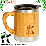 Reusable Stainless Steel Bamboo Eco Travel Mug with Lid and Handle - Thermos for Coffee or Tea. Splash-Proof, Easy to Clean Lid. Original Design Natural Wood Wooden Light Mug - 11 oz / 300 ml