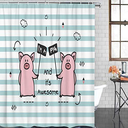 n Cartoon Bad Vorhang Schwein Logo Marke Duschvorhang Wasserdicht Polyester Stoff Badezimmer Dekor