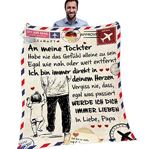 JAWSEU Personalisierte Fleecedecke An Meine Tochter von Papa Deutsche Nachricht Decke Gedruckt Luftpost Flanell Wolle Decke,Kuscheldecke Fleece Sofadecke Plüsch-Flanell-Decke für Couch Bett,TV-Decke