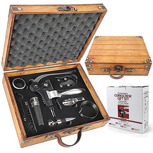 Yobansa Caja de madera antigua, accesorios para vino, set de regalo, abrebotellas de vino, sacacorchos, tapón de vino y vertedor de vino (Style 08)