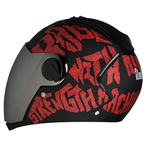Steelbird SBA-2 Strength Stylish bike full face helmet with free transparent Visor for night vision (600MM, Black with Red - Silver Mirror Visor)