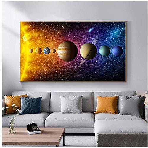 FRTTCYO póster Imágenes del Sistema Solar Nebula Space Universe Posters e Impresiones Ciencia Lienzo Pintura Arte de la Pared para la decoración de la Sala Cuadros -50x70cmx1 Sin Marco
