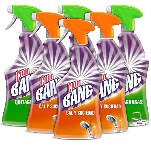 Cillit Bang - Spray Limpiador Cal y Suciedad, para Baños + Spray Quitagrasas Brillo, para cocinas - Pack 6 x 750 ml
